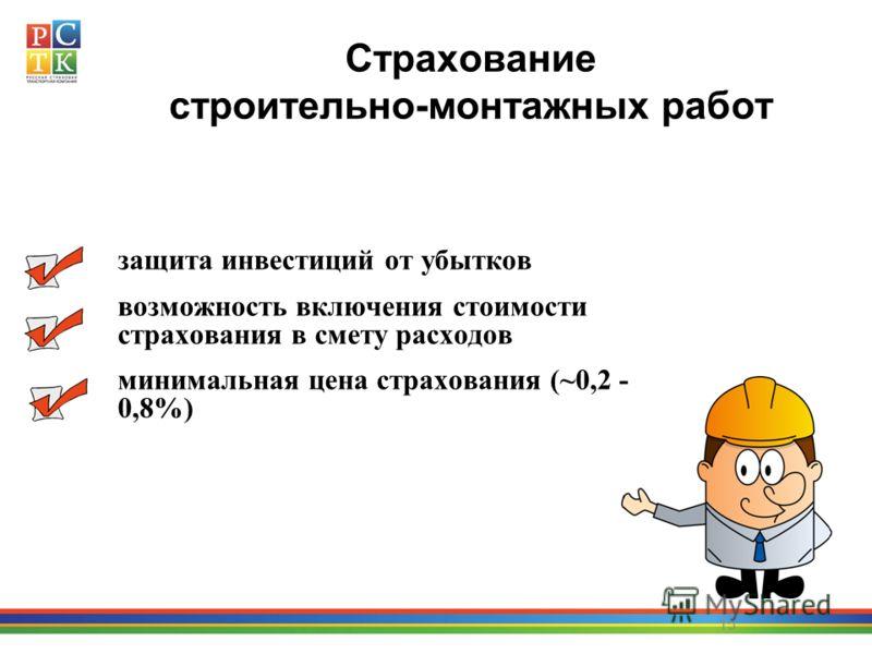 15 Страхование строительно-монтажных работ защита инвестиций от убытков возможность включения стоимости страхования в смету расходов минимальная цена страхования (~0,2 - 0,8%)