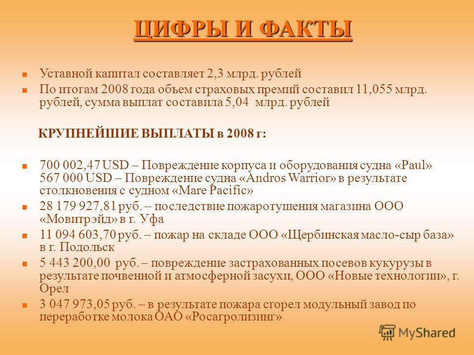 ЦИФРЫ И ФАКТЫ Уставной капитал составляет 2,3 млрд. рублей По итогам 2008 года объем страховых премий составил 11,055 млрд. рублей, сумма выплат составила 5,04 млрд. рублей КРУПНЕЙШИЕ ВЫПЛАТЫ в 2008 г: 700 002,47 USD – Повреждение корпуса и оборудова