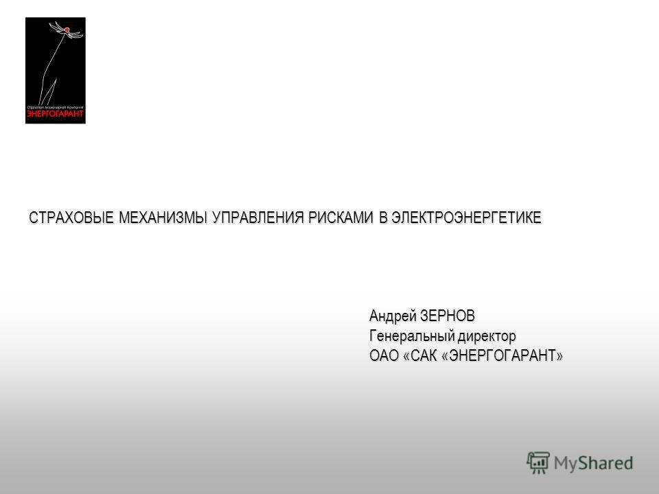 СТРАХОВЫЕ МЕХАНИЗМЫ УПРАВЛЕНИЯ РИСКАМИ В ЭЛЕКТРОЭНЕРГЕТИКЕ Андрей ЗЕРНОВ Генеральный директор ОАО «САК «ЭНЕРГОГАРАНТ»