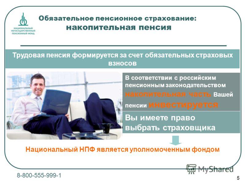 5 8-800-555-999-1 Обязательное пенсионное страхование: накопительная пенсия В соответствии с российским пенсионным законодательством накопительная часть Вашей пенсии инвестируется Трудовая пенсия формируется за счет обязательных страховых взносов Вы
