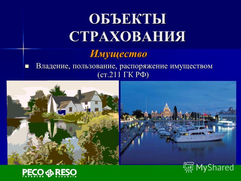 ОБЪЕКТЫ СТРАХОВАНИЯ Имущество Владение, пользование, распоряжение имуществом (ст.211 ГК РФ) Владение, пользование, распоряжение имуществом (ст.211 ГК РФ)