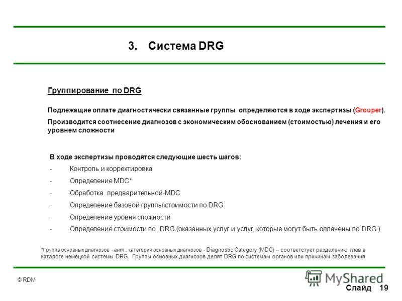 © RDM 19Слайд Группирование по DRG Подлежащие оплате диагностически связанные группы определяются в ходе экспертизы (Grouper). Производится соотнесение диагнозов с экономическим обоснованием (стоимостью) лечения и его уровнем сложности В ходе эксперт