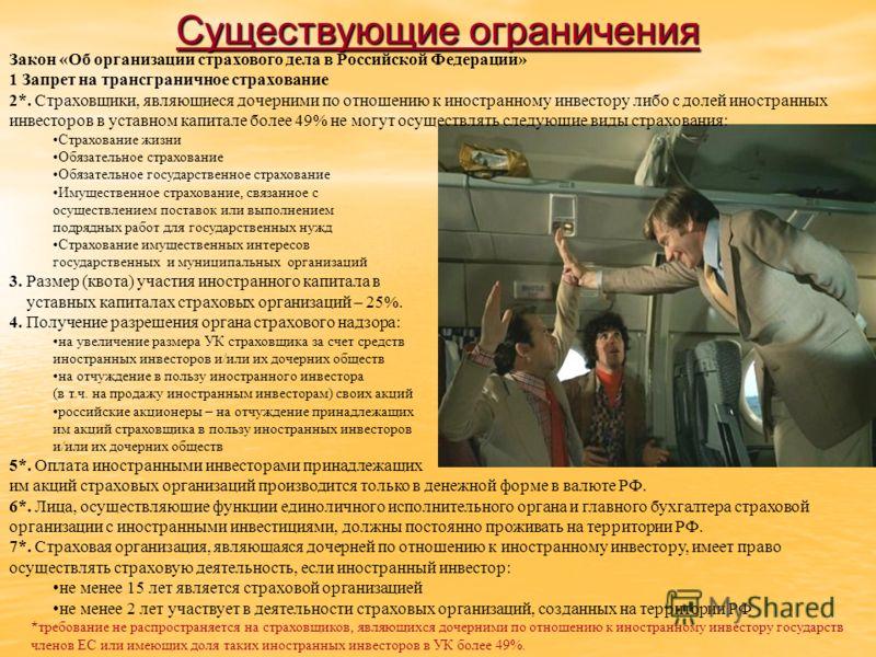 Закон «Об организации страхового дела в Российской Федерации» 1 Запрет на трансграничное страхование 2*. Страховщики, являющиеся дочерними по отношению к иностранному инвестору либо с долей иностранных инвесторов в уставном капитале более 49% не могу