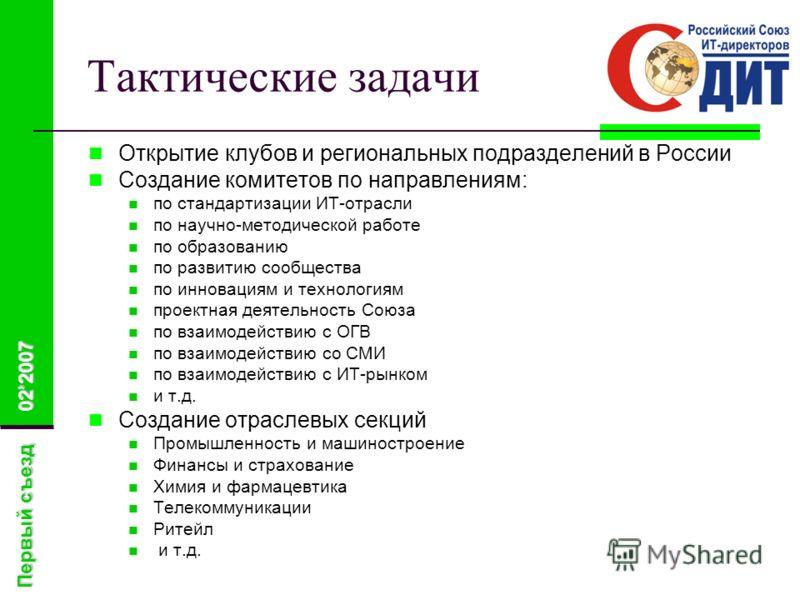 Первый съезд 022007 Тактические задачи Открытие клубов и региональных подразделений в России Создание комитетов по направлениям: по стандартизации ИТ-отрасли по научно-методической работе по образованию по развитию сообщества по инновациям и технолог