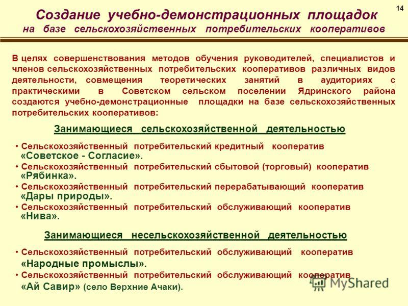 Сельскохозяйственный потребительский кредитный кооператив «Советское - Согласие». Сельскохозяйственный потребительский сбытовой (торговый) кооператив «Рябинка». Сельскохозяйственный потребительский перерабатывающий кооператив «Дары природы». Сельскох