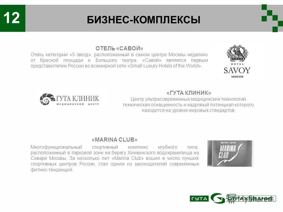 БИЗНЕС-КОМПЛЕКСЫ 12 «MARINA CLUB» Многофункциональный спортивный комплекс клубного типа, расположенный в парковой зоне на берегу Химкинского водохранилища на Севере Москвы. За несколько лет «Marina Club» вошел в число лучших спортивных центров России
