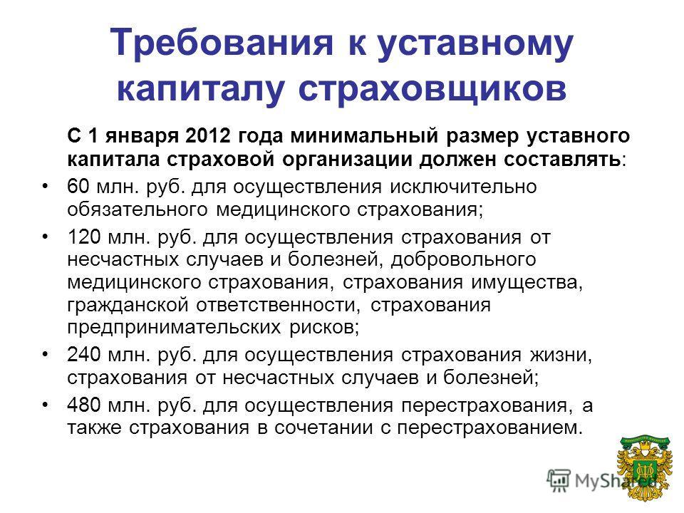 Требования к уставному капиталу страховщиков С 1 января 2012 года минимальный размер уставного капитала страховой организации должен составлять: 60 млн. руб. для осуществления исключительно обязательного медицинского страхования; 120 млн. руб. для ос