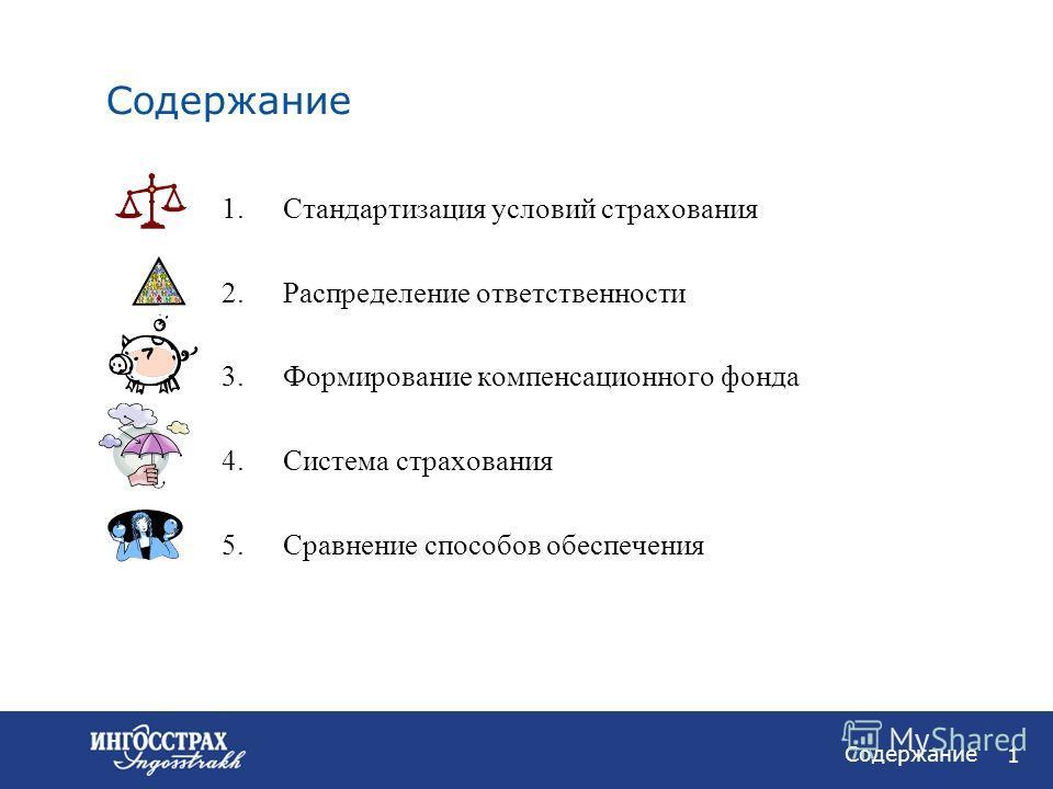 1 Содержание 1.Стандартизация условий страхования 2.Распределение ответственности 3.Формирование компенсационного фонда 4.Система страхования 5.Сравнение способов обеспечения