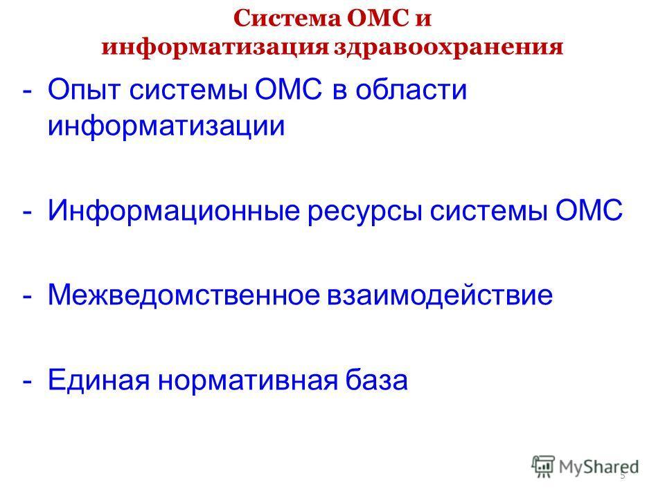 Система ОМС и информатизация здравоохранения -Опыт системы ОМС в области информатизации -Информационные ресурсы системы ОМС -Межведомственное взаимодействие -Единая нормативная база 5