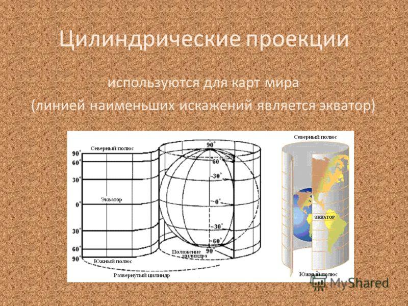 Цилиндрические проекции используются для карт мира (линией наименьших искажений является экватор)