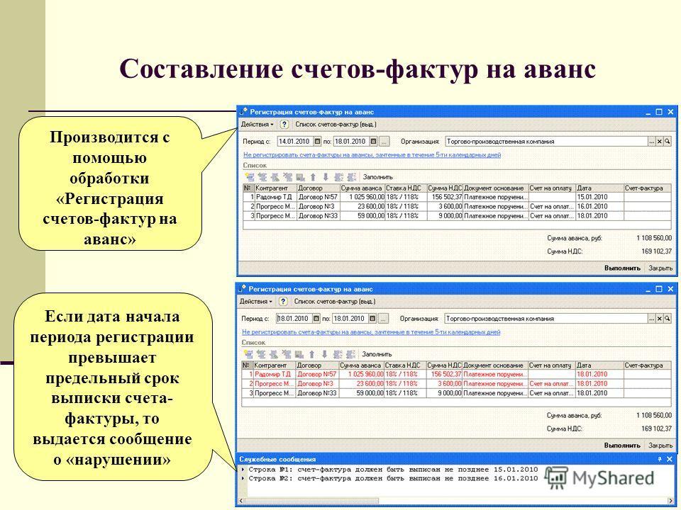 Составление счетов-фактур на аванс Если дата начала периода регистрации превышает предельный срок выписки счета- фактуры, то выдается сообщение о «нарушении» Производится с помощью обработки «Регистрация счетов-фактур на аванс»