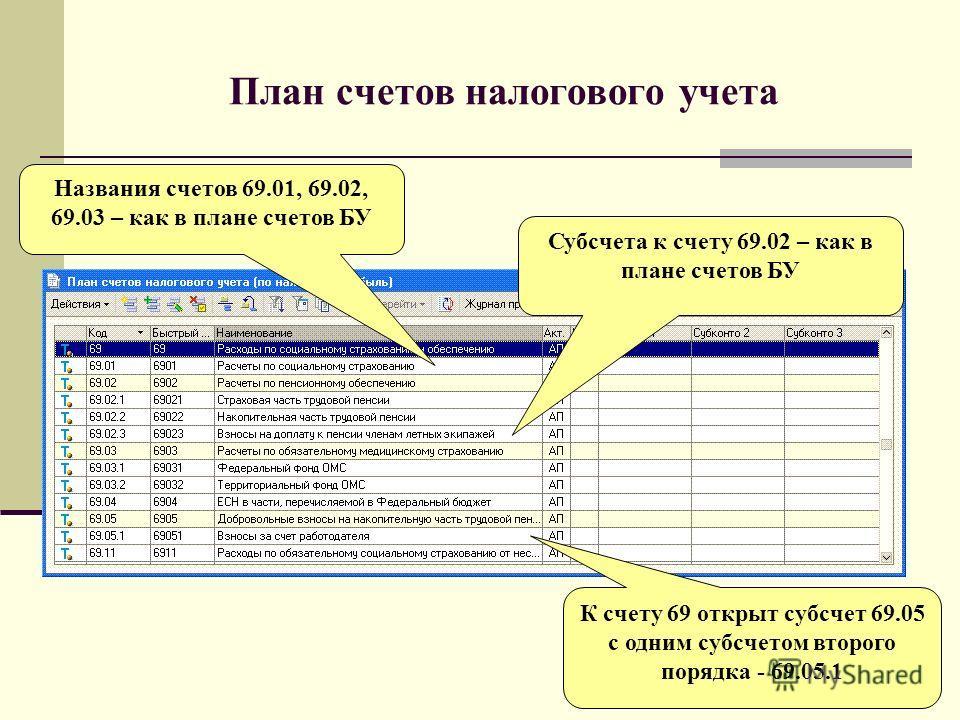 План счетов налогового учета Названия счетов 69.01, 69.02, 69.03 – как в плане счетов БУ Субсчета к счету 69.02 – как в плане счетов БУ К счету 69 открыт субсчет 69.05 с одним субсчетом второго порядка - 69.05.1