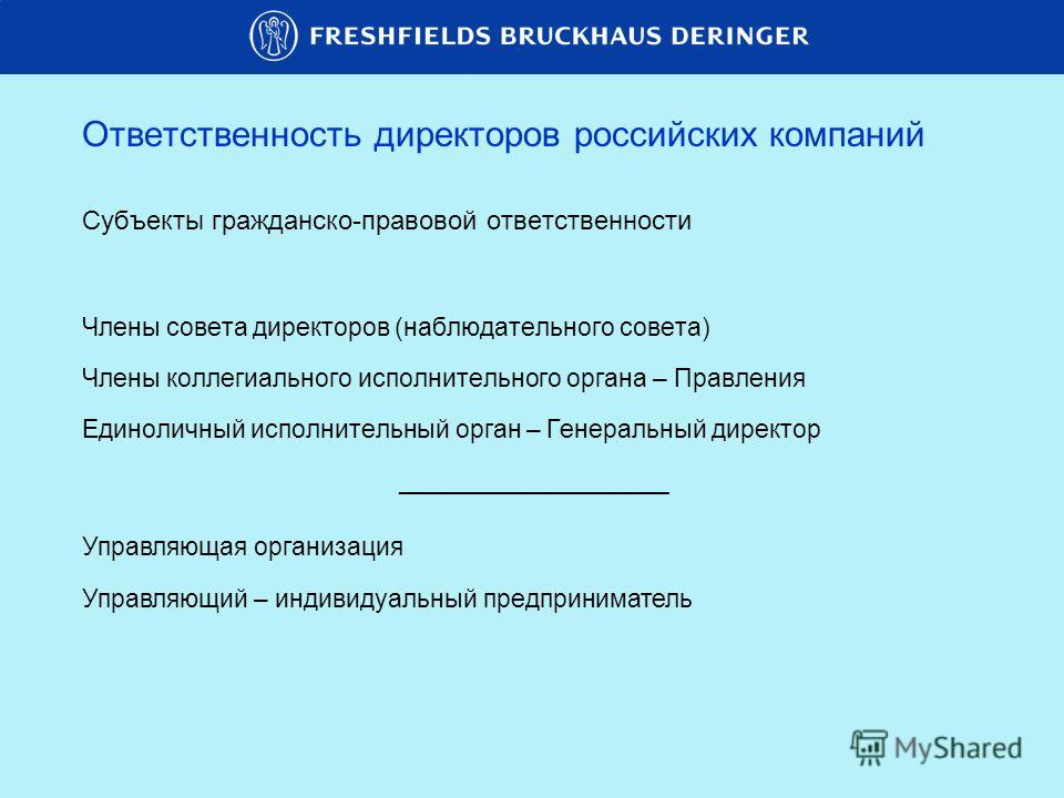 Ответственность директоров российских компаний Субъекты гражданско-правовой ответственности Члены совета директоров (наблюдательного совета) Члены коллегиального исполнительного органа – Правления Единоличный исполнительный орган – Генеральный директ