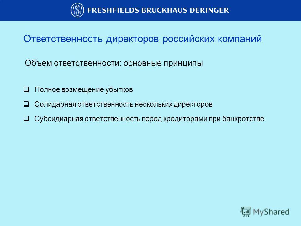 Объем ответственности: основные принципы Полное возмещение убытков Солидарная ответственность нескольких директоров Субсидиарная ответственность перед кредиторами при банкротстве