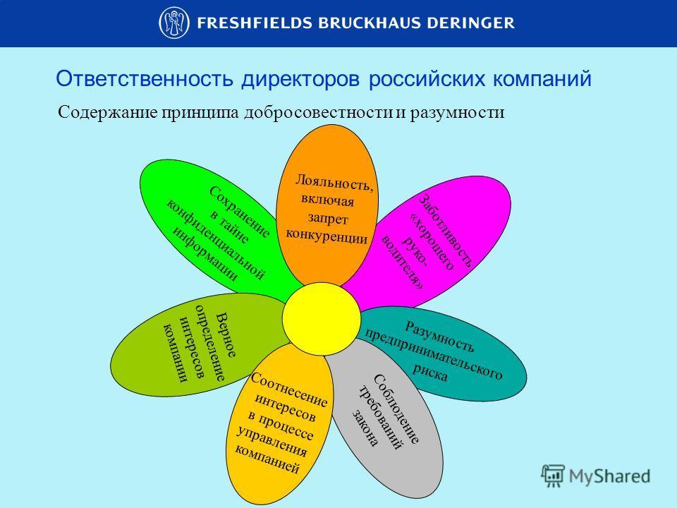 Сохранение в тайне конфиденциальной информации Ответственность директоров российских компаний Содержание принципа добросовестности и разумности Заботливость «хорошего руко- водителя» Разумность предпринимательского риска Соблюдение требований закона