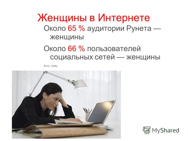 Женщины в Интернете Около 65 % аудитории Рунета женщины Около 66 % пользователей социальных сетей женщины Фото: Getty