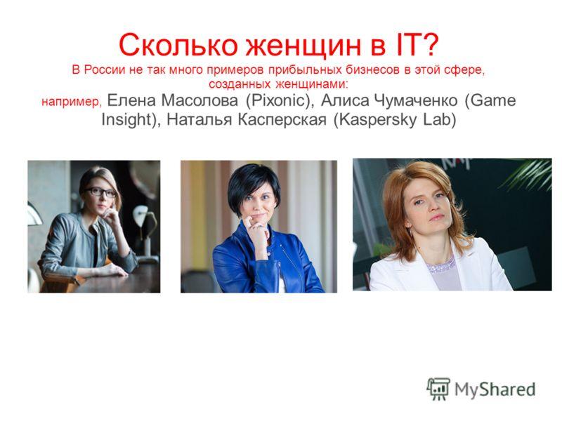 Сколько женщин в IT? В России не так много примеров прибыльных бизнесов в этой сфере, созданных женщинами: например, Елена Масолова (Pixonic), Алиса Чумаченко (Game Insight), Наталья Касперская (Kaspersky Lab)
