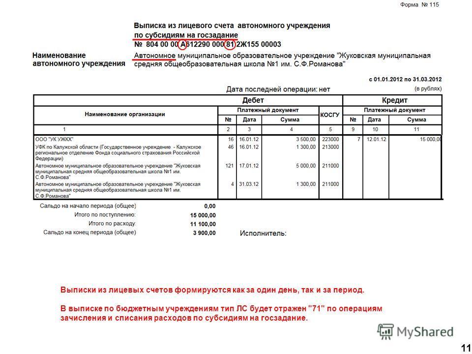 11 Выписки из лицевых счетов формируются как за один день, так и за период. В выписке по бюджетным учреждениям тип ЛС будет отражен 71 по операциям зачисления и списания расходов по субсидиям на госзадание.