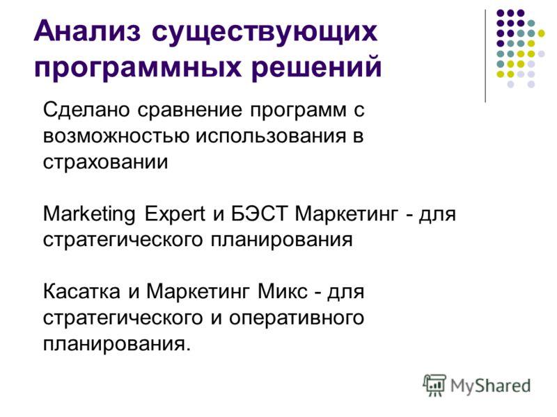 Анализ существующих программных решений Сделано сравнение программ с возможностью использования в страховании Marketing Expert и БЭСТ Маркетинг - для стратегического планирования Касатка и Маркетинг Микс - для стратегического и оперативного планирова