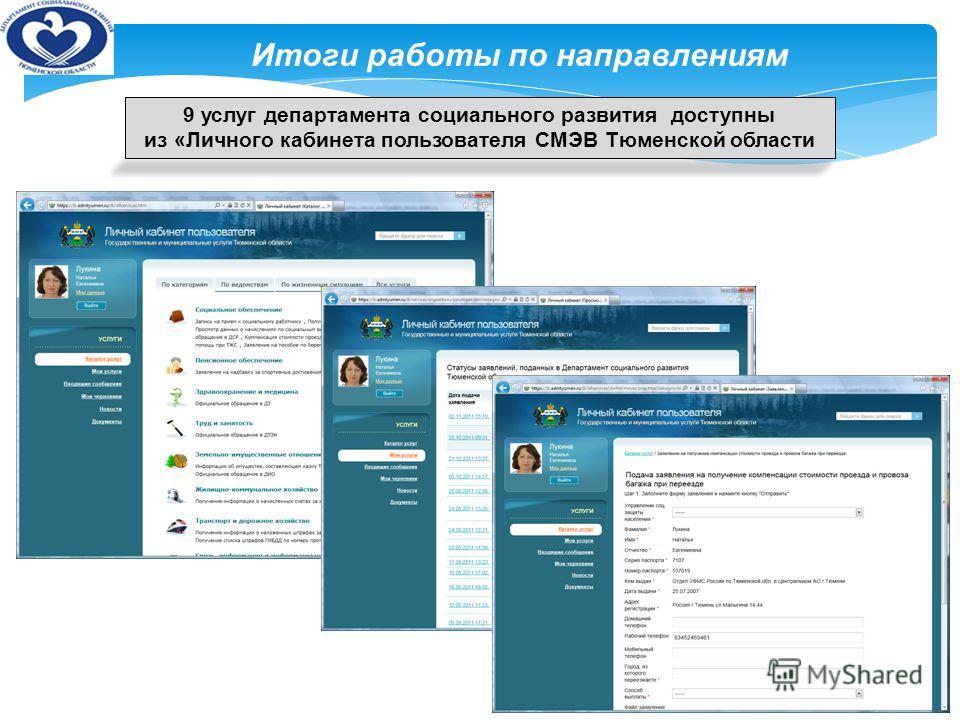 10 Итоги работы по направлениям 9 услуг департамента социального развития доступны из «Личного кабинета пользователя СМЭВ Тюменской области