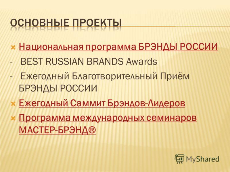 Национальная программа БРЭНДЫ РОССИИ - BEST RUSSIAN BRANDS Awards - Ежегодный Благотворительный Приём БРЭНДЫ РОССИИ Ежегодный Саммит Брэндов-Лидеров Программа международных семинаров МАСТЕР-БРЭНД® Программа международных семинаров МАСТЕР-БРЭНД®