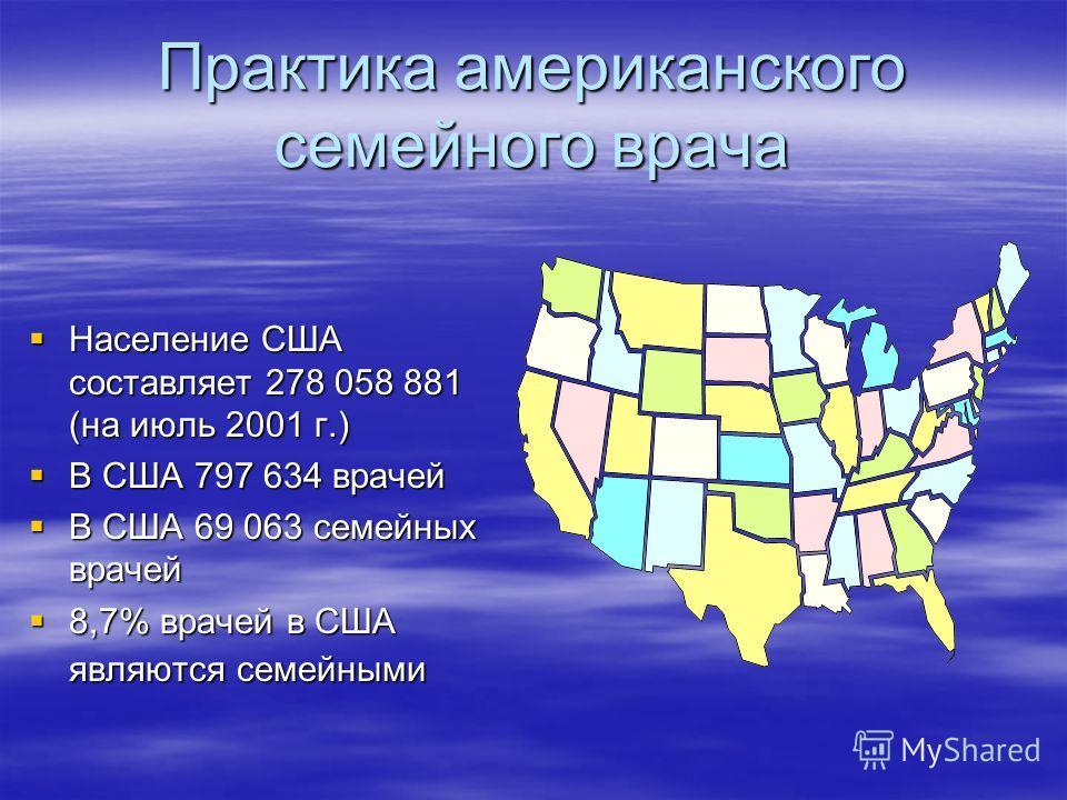 Практика американского семейного врача Население США составляет 278 058 881 (на июль 2001 г.) Население США составляет 278 058 881 (на июль 2001 г.) В США 797 634 врачей В США 797 634 врачей В США 69 063 семейных врачей В США 69 063 семейных врачей 8
