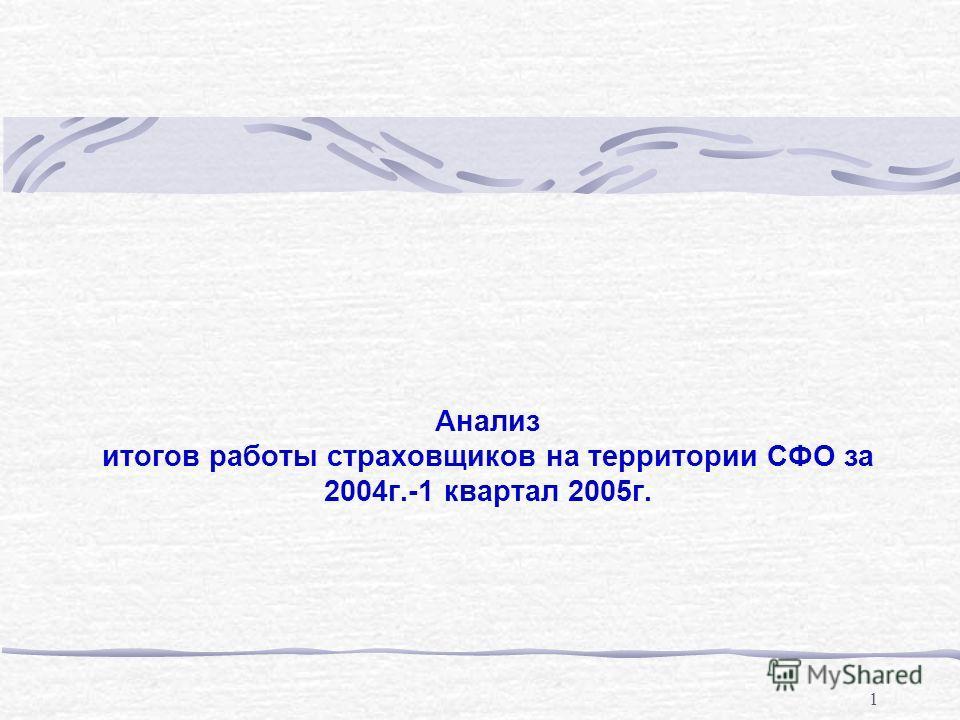 1 Анализ итогов работы страховщиков на территории СФО за 2004г.-1 квартал 2005г.