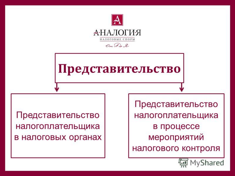 Представительство Представительство налогоплательщика в налоговых органах Представительство налогоплательщика в процессе мероприятий налогового контроля