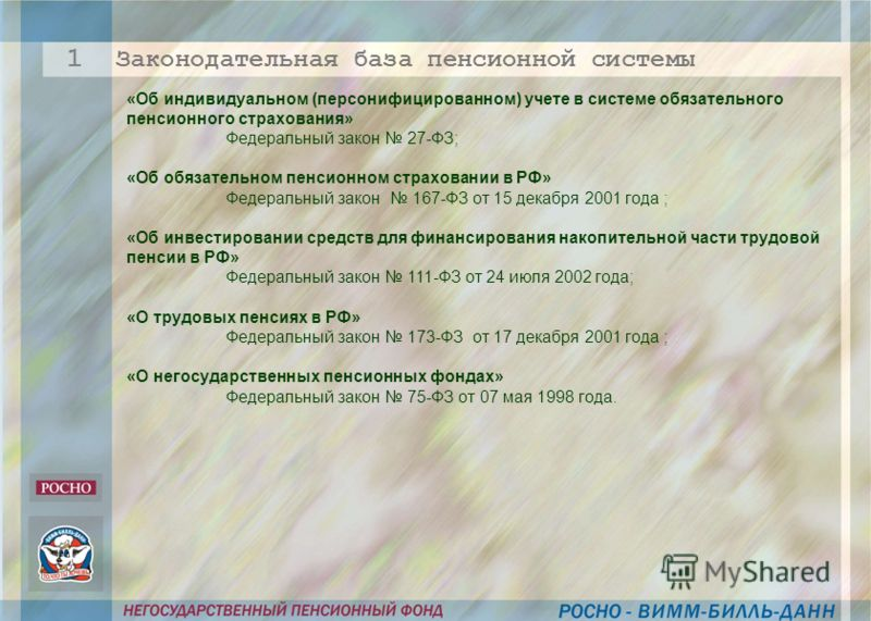 «Об индивидуальном (персонифицированном) учете в системе обязательного пенсионного страхования» Федеральный закон 27-ФЗ; «Об обязательном пенсионном страховании в РФ» Федеральный закон 167-ФЗ от 15 декабря 2001 года ; «Об инвестировании средств для ф