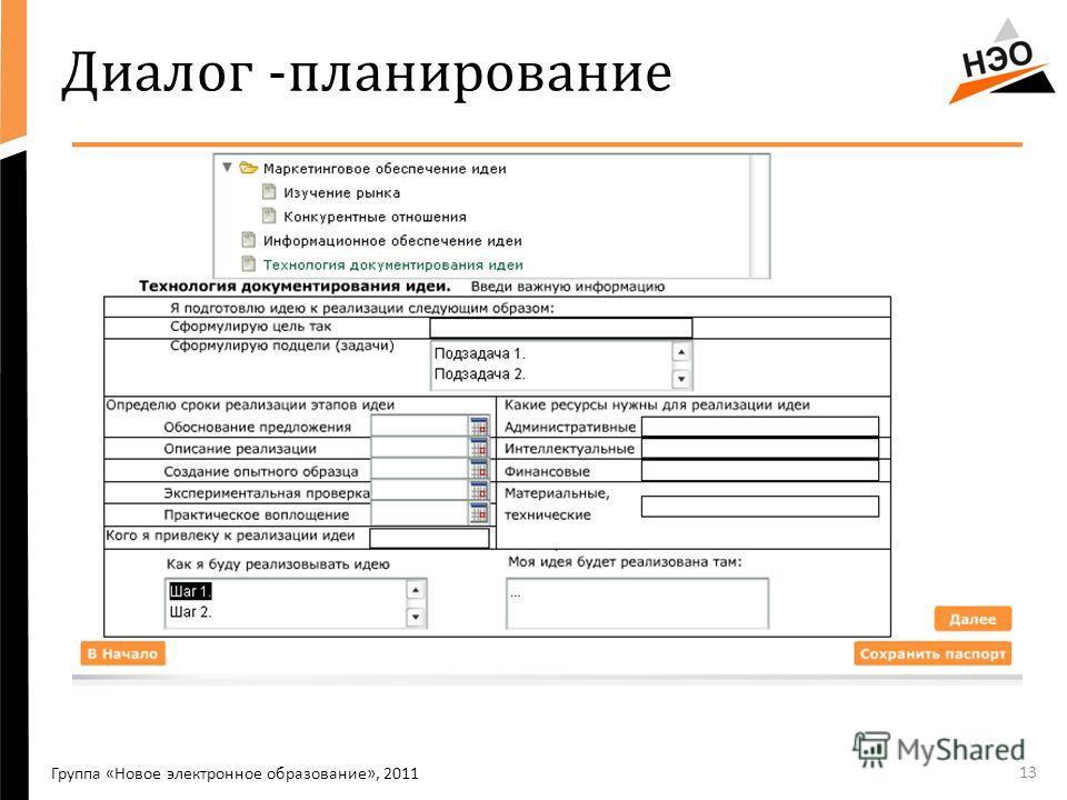 Диалог -планирование 13 Группа «Новое электронное образование», 2011