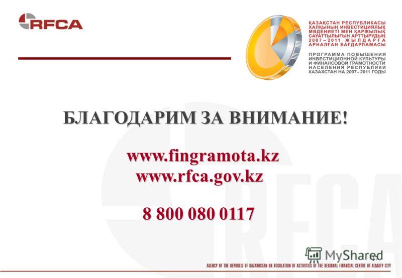 17 БЛАГОДАРИМ ЗА ВНИМАНИЕ! www.fingramota.kz www.rfca.gov.kz 8 800 080 0117