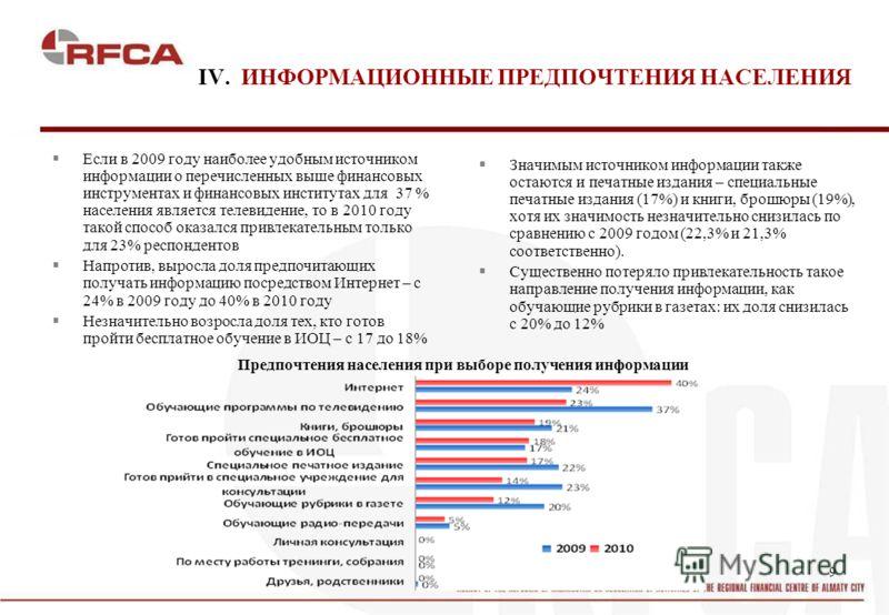 9 IV. ИНФОРМАЦИОННЫЕ ПРЕДПОЧТЕНИЯ НАСЕЛЕНИЯ Если в 2009 году наиболее удобным источником информации о перечисленных выше финансовых инструментах и финансовых институтах для 37 % населения является телевидение, то в 2010 году такой способ оказался при