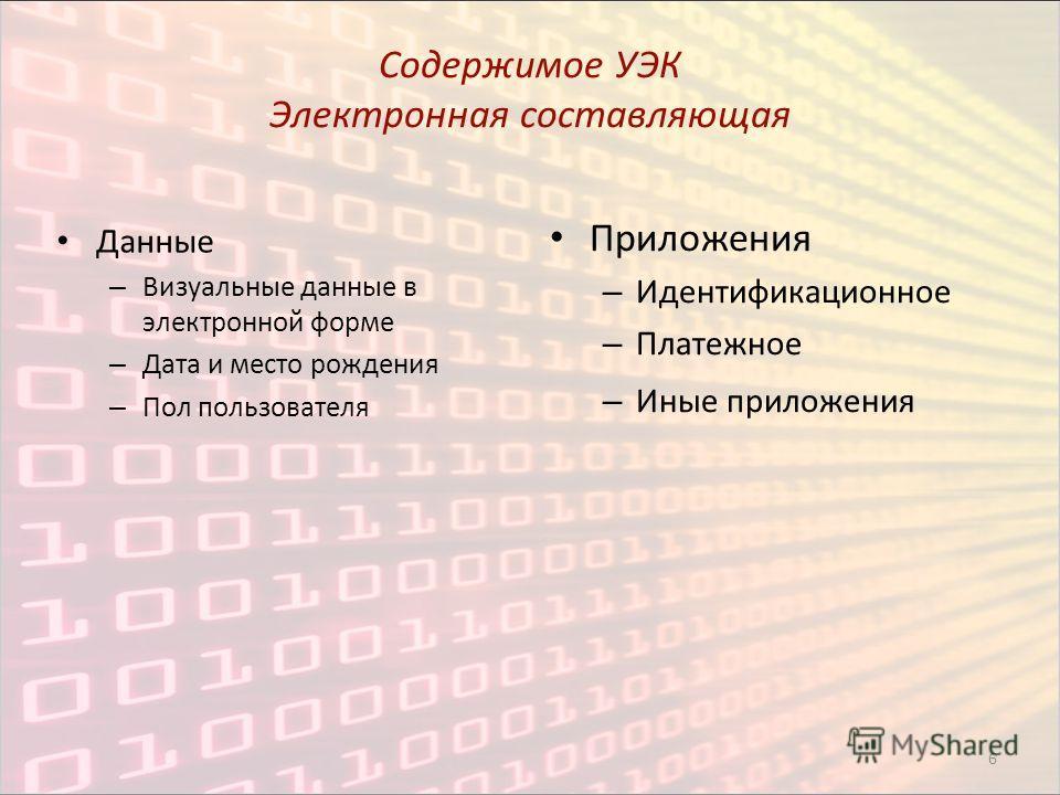 6 Содержимое УЭК Электронная составляющая Данные – Визуальные данные в электронной форме – Дата и место рождения – Пол пользователя Приложения – Идентификационное – Платежное – Иные приложения