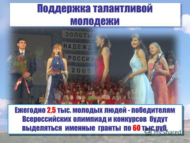 Ежегодно 2,5 тыс. молодых людей - победителям Всероссийских олимпиад и конкурсов будут выделяться именные гранты по 60 тыс.руб. Поддержка талантливой молодежи