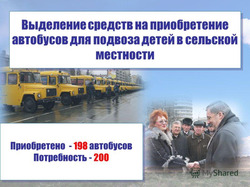 Выделение средств на приобретение автобусов для подвоза детей в сельской местности Приобретено - 198 автобусов Потребность - 200