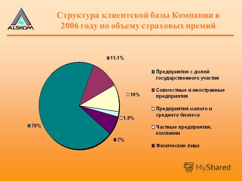 Структура клиентской базы Компании в 2006 году по объему страховых премий