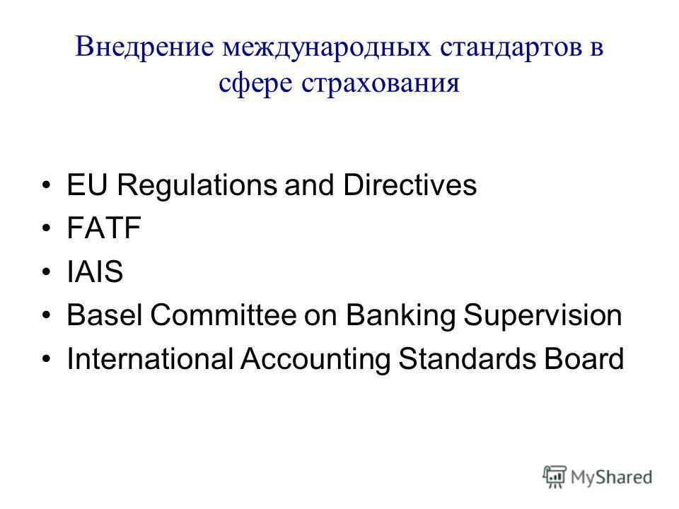 Внедрение международных стандартов в сфере страхования EU Regulations and Directives FATF IAIS Basel Committee on Banking Supervision International Accounting Standards Board