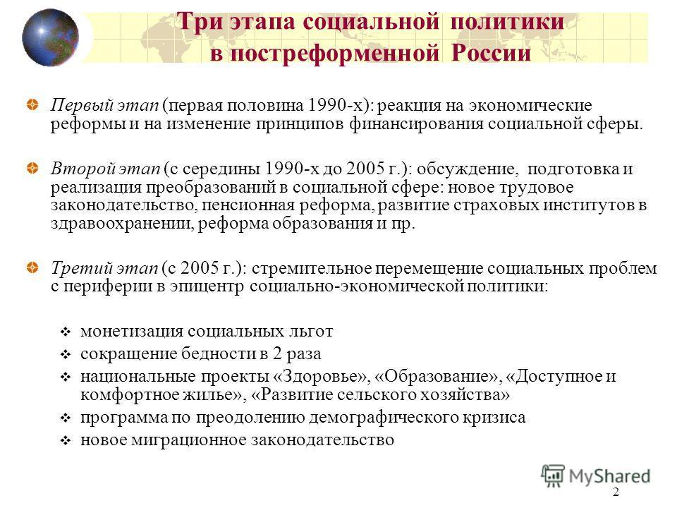 2 Три этапа социальной политики в постреформенной России Первый этап (первая половина 1990-х): реакция на экономические реформы и на изменение принципов финансирования социальной сферы. Второй этап (с середины 1990-х до 2005 г.): обсуждение, подготов
