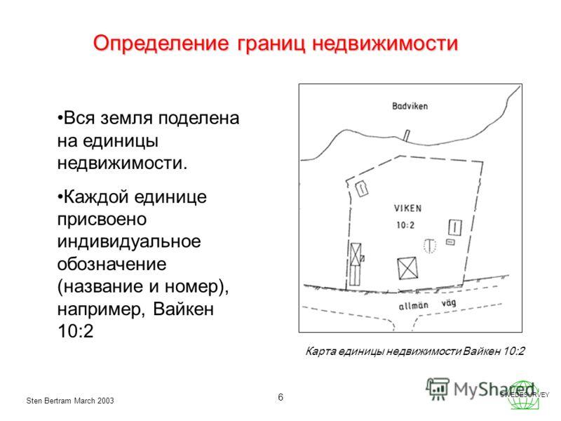 Sten Bertram March 2003 SWEDESURVEY 6 Определение границ недвижимости Карта единицы недвижимости Вайкен 10:2 Вся земля поделена на единицы недвижимости. Каждой единице присвоено индивидуальное обозначение (название и номер), например, Вайкен 10:2