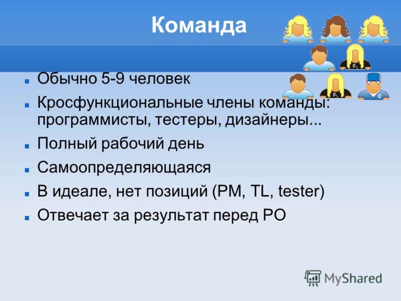 Команда Обычно 5-9 человек Кросфункциональные члены команды: программисты, тестеры, дизайнеры... Полный рабочий день Самоопределяющаяся В идеале, нет позиций (PM, TL, tester) Отвечает за результат перед PO
