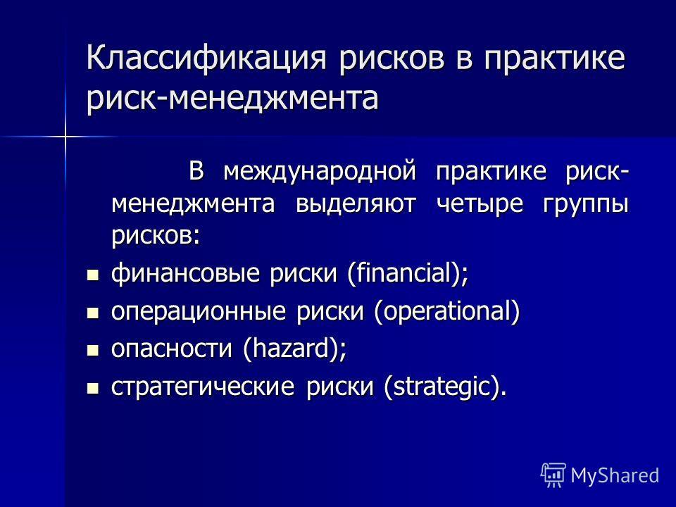 Классификация рисков в практике риск-менеджмента В международной практике риск- менеджмента выделяют четыре группы рисков: В международной практике риск- менеджмента выделяют четыре группы рисков: финансовые риски (financial); финансовые риски (finan