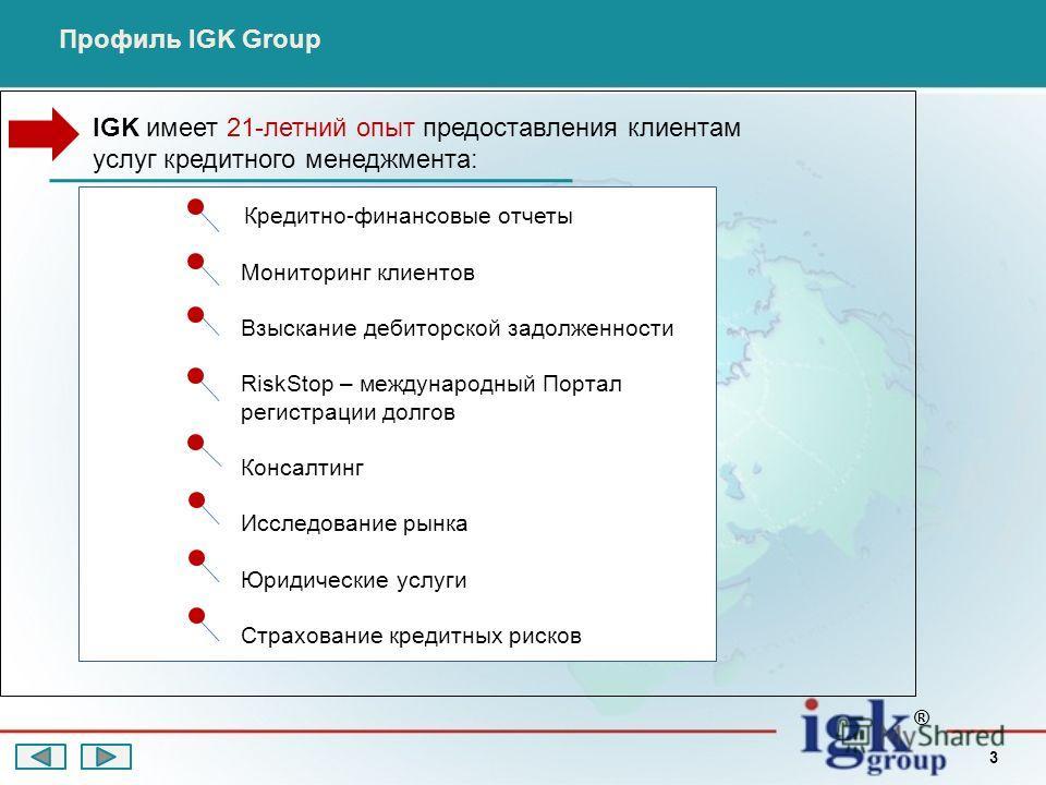 3 Кредитно-финансовые отчеты Мониторинг клиентов Взыскание дебиторской задолженности RiskStop – международный Портал регистрации долгов Консалтинг Исследование рынка Юридические услуги Страхование кредитных рисков ® Профиль IGK Group IGK имеет 21-лет