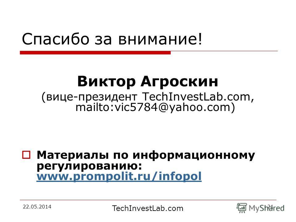 TechInvestLab.com 22.05.201421 Спасибо за внимание! Виктор Агроскин (вице-президент TechInvestLab.com, mailto:vic5784@yahoo.com) Материалы по информационному регулированию: www.prompolit.ru/infopol www.prompolit.ru/infopol