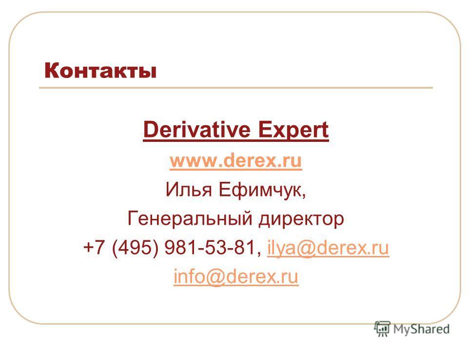 Контакты Derivative Expert www.derex.ru Илья Ефимчук, Генеральный директор +7 (495) 981-53-81, ilya@derex.ruilya@derex.ru info@derex.ru