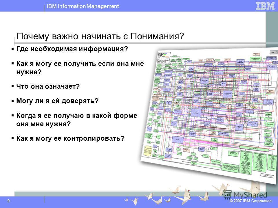 IBM Information Management © 2007 IBM Corporation 9 Где необходимая информация? Как я могу ее получить если она мне нужна? Что она означает? Могу ли я ей доверять? Когда я ее получаю в какой форме она мне нужна? Как я могу ее контролировать? Почему в