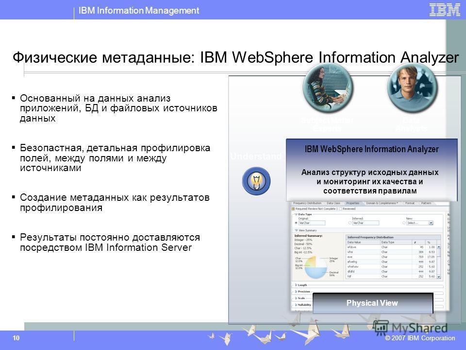 IBM Information Management © 2007 IBM Corporation 10 Физические метаданные: IBM WebSphere Information Analyzer Основанный на данных анализ приложений, БД и файловых источников данных Безопастная, детальная профилировка полей, между полями и между ист