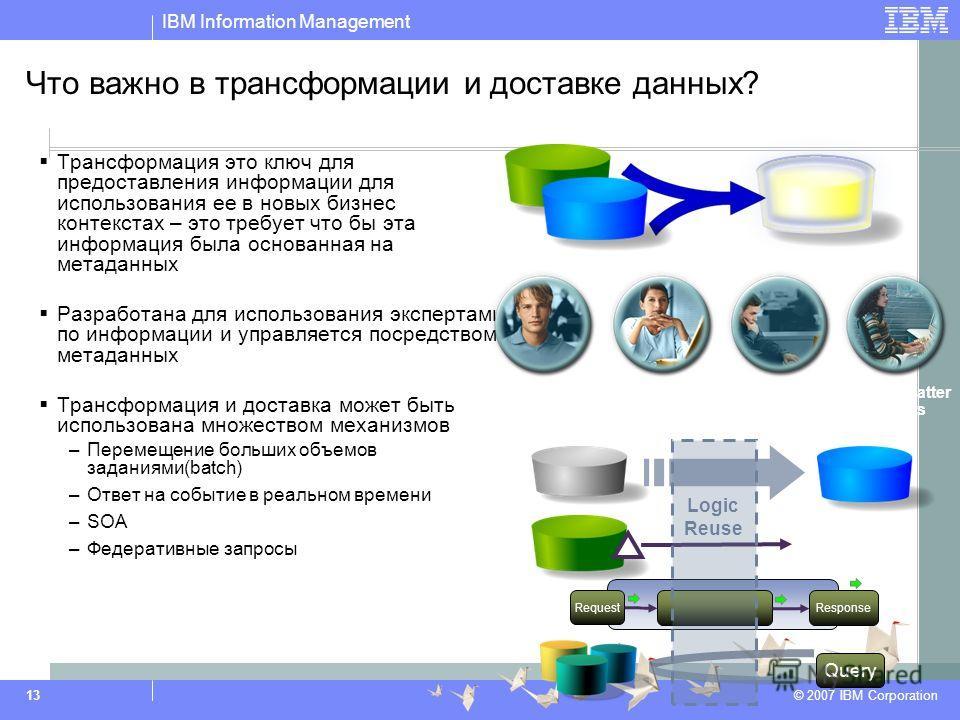 IBM Information Management © 2007 IBM Corporation 13 Что важно в трансформации и доставке данных? Трансформация это ключ для предоставления информации для использования ее в новых бизнес контекстах – это требует что бы эта информация была основанная