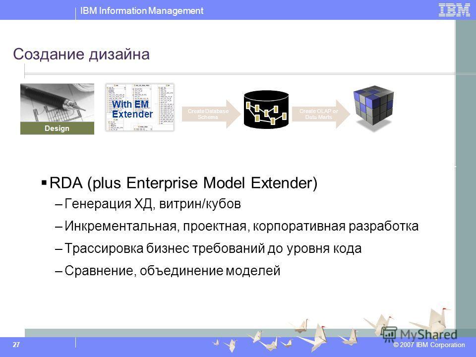 IBM Information Management © 2007 IBM Corporation 27 Создание дизайна RDA (plus Enterprise Model Extender) –Генерация ХД, витрин/кубов –Инкрементальная, проектная, корпоративная разработка –Трассировка бизнес требований до уровня кода –Сравнение, объ