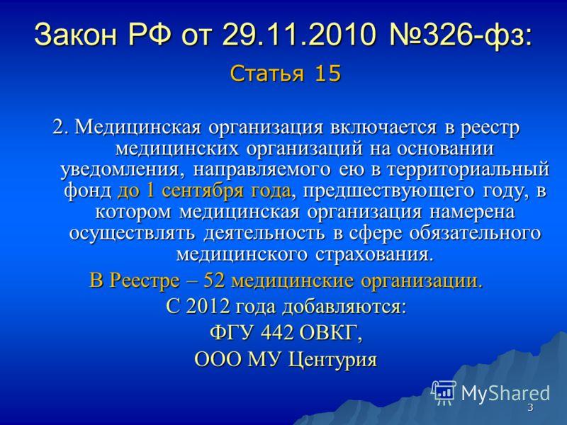 3 Закон РФ от 29.11.2010 326-фз: Статья 15 2. Медицинская организация включается в реестр медицинских организаций на основании уведомления, направляемого ею в территориальный фонд до 1 сентября года, предшествующего году, в котором медицинская органи