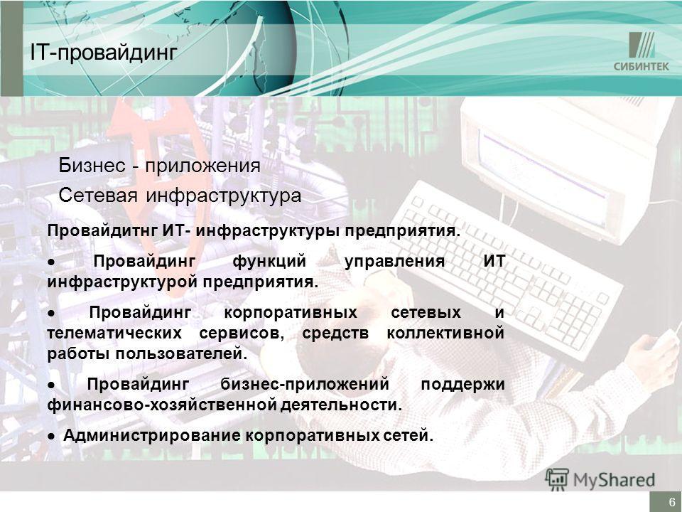 6 IT-провайдинг Бизнес - приложения Сетевая инфраструктура Провайдитнг ИТ- инфраструктуры предприятия. Провайдинг функций управления ИТ инфраструктурой предприятия. Провайдинг корпоративных сетевых и телематических сервисов, средств коллективной рабо